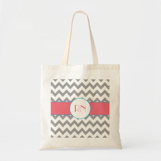 Grey and Pink Chevron Striped Monogram Bag