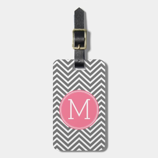 Grey and Pink Chevrons with Custom Monogram Luggage Tag