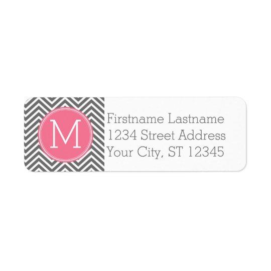 Grey and Pink Chevrons with Custom Monogram Return Address Label