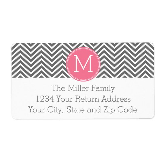 Grey and Pink Chevrons with Custom Monogram Shipping Label