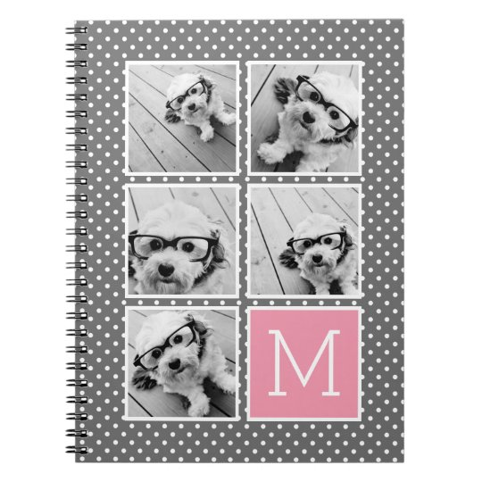 Grey and Pink Instagram 5 Photo Collage Monogram Notebooks