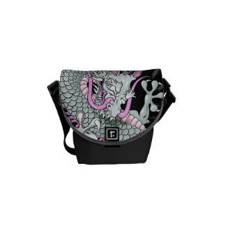 Grey and Pink Japanese Dragon Tattoo Wind Bars Courier Bag