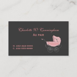 Grey and Pink Nanny Custom Business Card