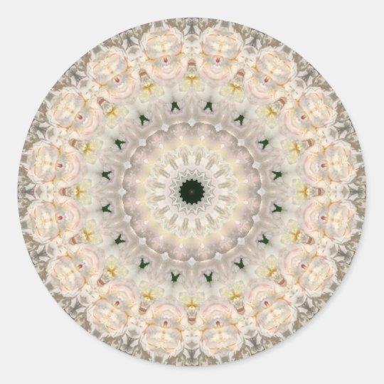 Grey and Pink Peony Mandala Classic Round Sticker