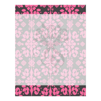 grey and pink shabby damask funky full color flyer