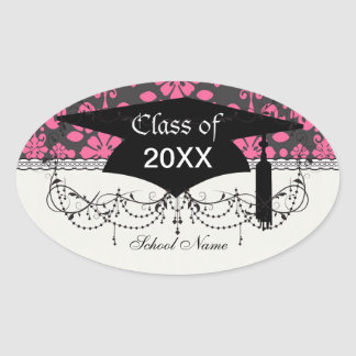 grey and pink shabby damask funky graduation oval sticker