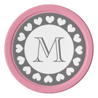 Grey and pink wedding poker chips | Custom tokens