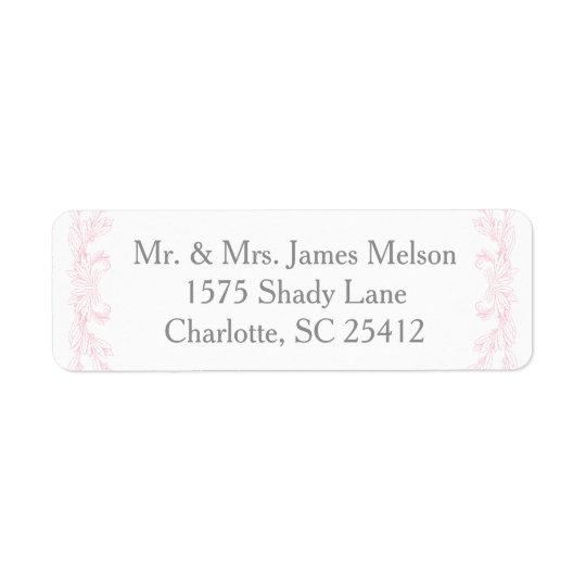 Grey and Pink Wedding Return Address Label