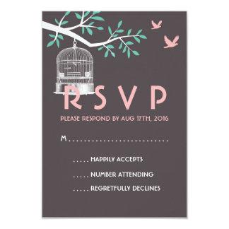 Grey and Pink Wedding RSVP Card Vintage Bird Cage 9 Cm X 13 Cm Invitation Card