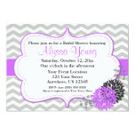 Grey and Purple Lilac Chevron Invitation 13 Cm X 18 Cm Invitation Card