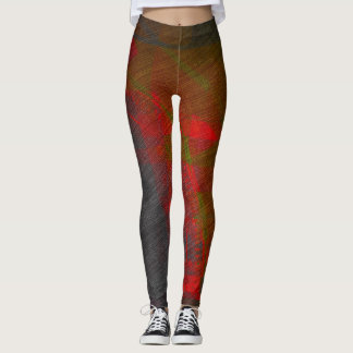 Grey and Red Abstract Leggings