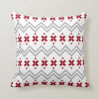 Grey and Red Alpine Pattern Pillow