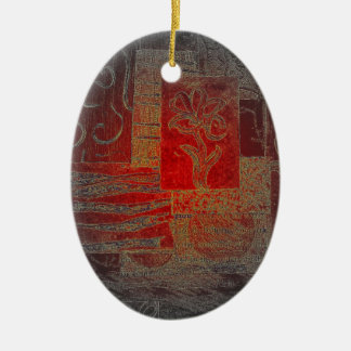 Grey and Red Art Floral Modern Black Pattern Ceramic Oval Decoration