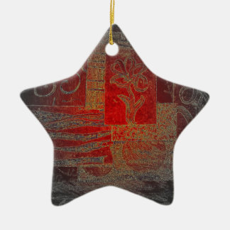 Grey and Red Art Floral Modern Black Pattern Christmas Tree Ornament