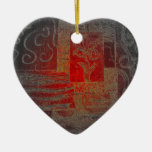 Grey and Red Art Floral Modern Black Pattern Ornament
