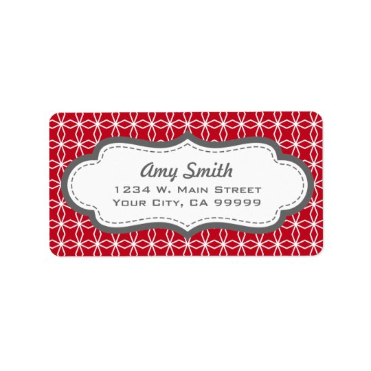 Grey and Red Geometric Address Labels
