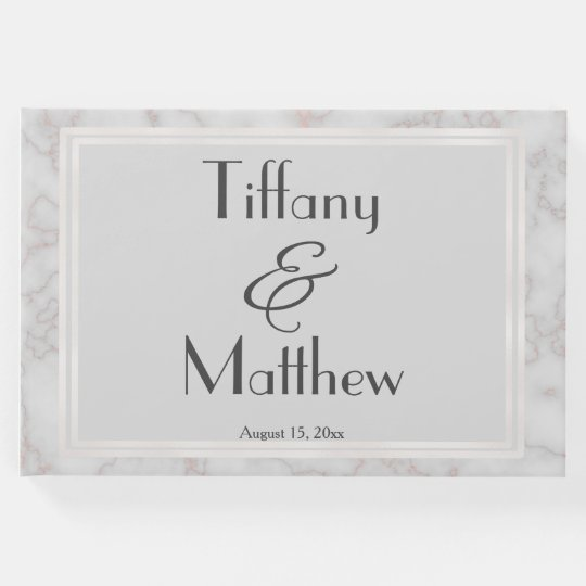 Grey and Rose Gold Marble Personalised Wedding Guest