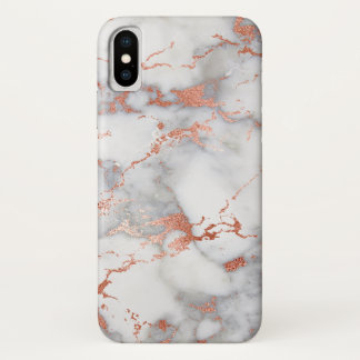 grey and rose gold marble stone effect iPhone x case