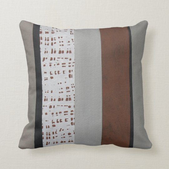 Grey and rust modern pattern cushion