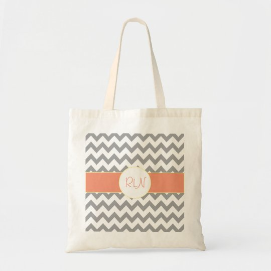 Grey and Salmon Chevron Striped Monogram Tote Bag