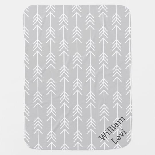 Grey and Seafoam Arrows Monogram Baby Blanket