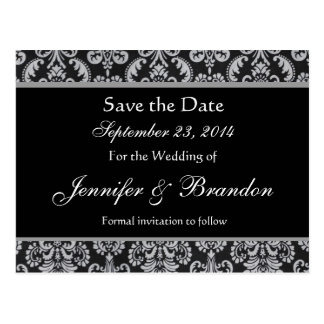 Grey and Silver Damask Save The Date Postcard