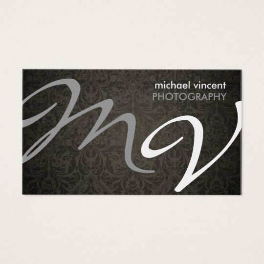 Grey and Silver monogram with black damask Business Card