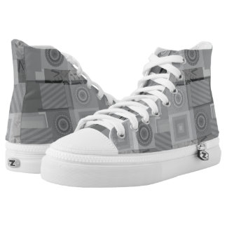 Grey and silver pattern high tops