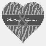 Grey and Silver Zebra Wedding Bride and Groom Heart Sticker