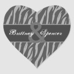 Grey and Silver Zebra Wedding Bride and Groom Heart Sticker