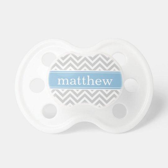 Grey and Sky Blue Chevron Monogram Baby Pacifier