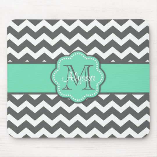 Grey and Teal Chevron Personalised Mousepad