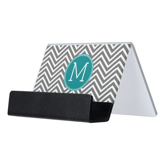 Grey and Teal Chevrons - Custom Monogram Desk