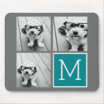 Grey and Teal Instagram Photo Collage Monogram Mouse Pad