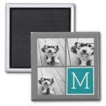Grey and Teal Instagram Photo Collage Monogram Square Magnet