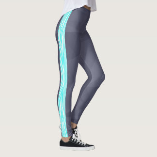 Grey and Teal Star Striped Leggings