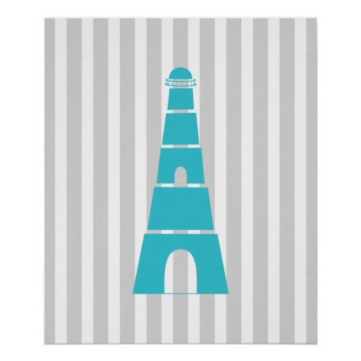 Grey and Teal Striped Nautical Lighthouse Posters
