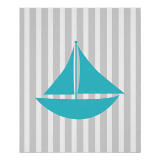 Grey and Teal Striped Nautical Ship Posters