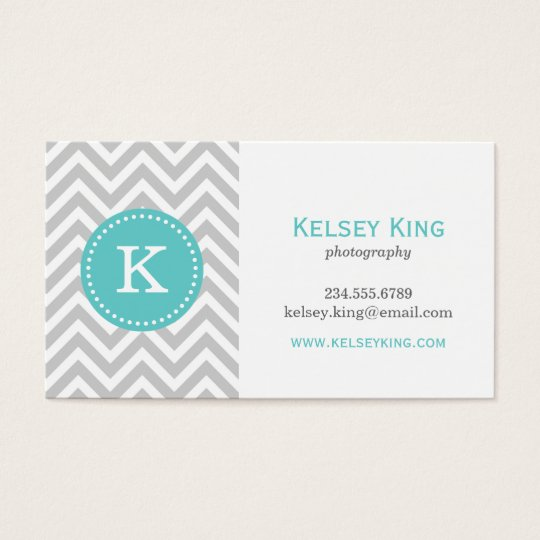 Grey and Turquoise Chevron Custom Monogram Business Card
