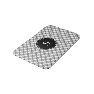 Grey and White 3D Block with Custom Monogram Bath Mat