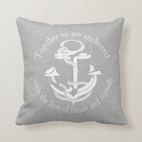 Grey and White Anchor Monogram Cushion