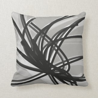 Grey and White Artistic Abstract Ribbons Cushion