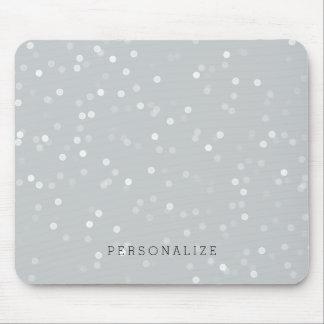 Grey and White Bokeh Confetti Mouse Mat