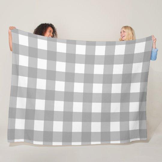 Grey and White Buffalo Check Fleece Blanket
