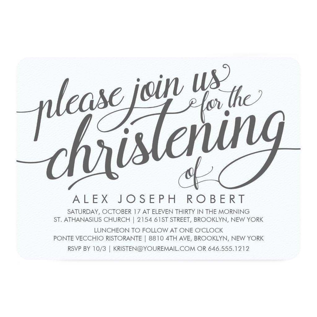 Grey and White Calligraphy Christening Invitation