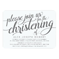 Grey and White Calligraphy Christening Invitation