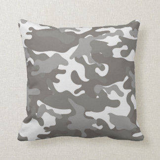 Grey and White Camouflage Cushion