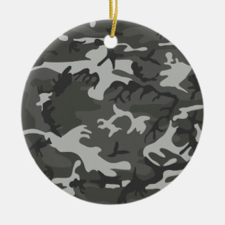 Grey and White Camouflage II Round Ceramic Decoration