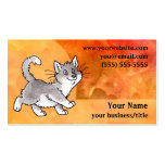 Grey and White Cat Business Card - Fiery Orange