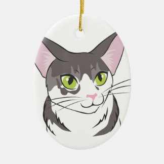 Grey and White Cat Ceramic Oval Decoration